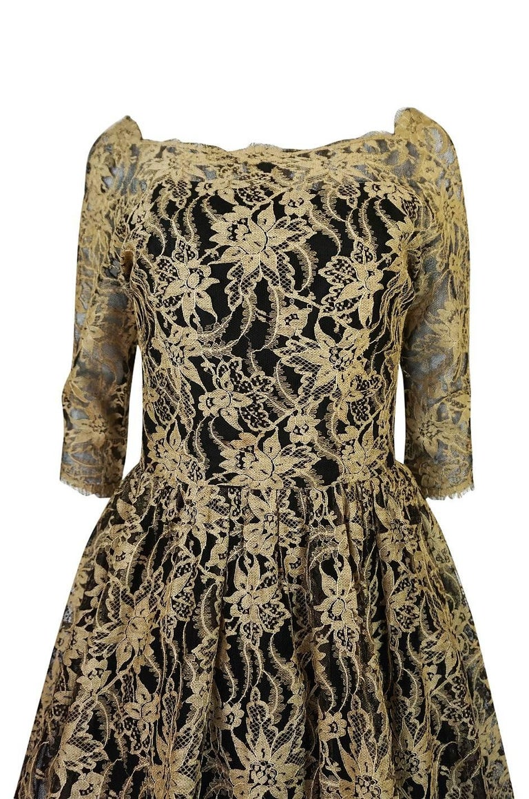 Rare 1950s Jacques Heim Full Skirted Black Net Dress w Gold Thread Lace For Sale 2