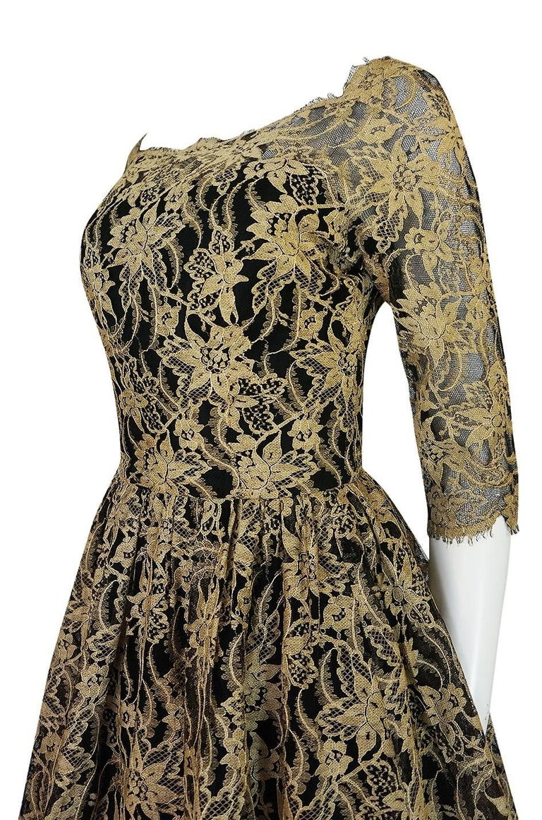 Rare 1950s Jacques Heim Full Skirted Black Net Dress w Gold Thread Lace For Sale 3