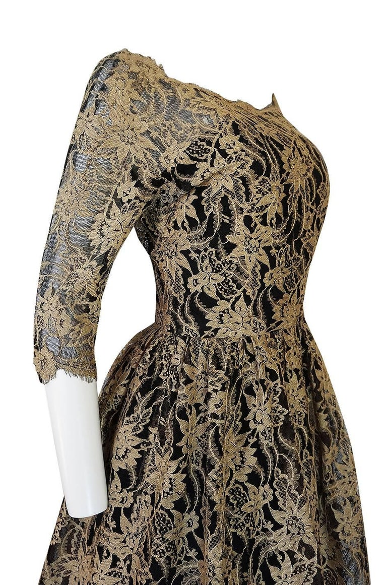 Rare 1950s Jacques Heim Full Skirted Black Net Dress w Gold Thread Lace For Sale 4