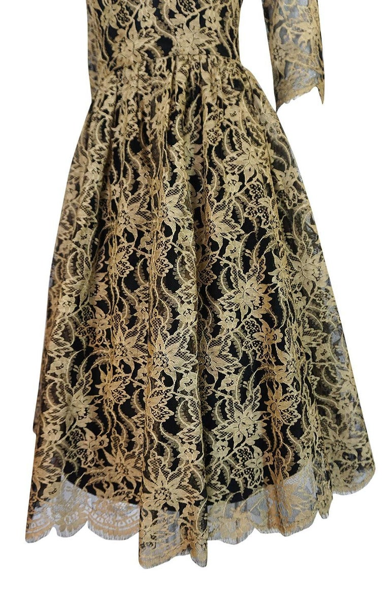 Rare 1950s Jacques Heim Full Skirted Black Net Dress w Gold Thread Lace For Sale 5