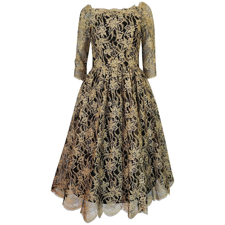 Rare 1950s Jacques Heim Full Skirted Black Net Dress w Gold Thread Lace For Sale