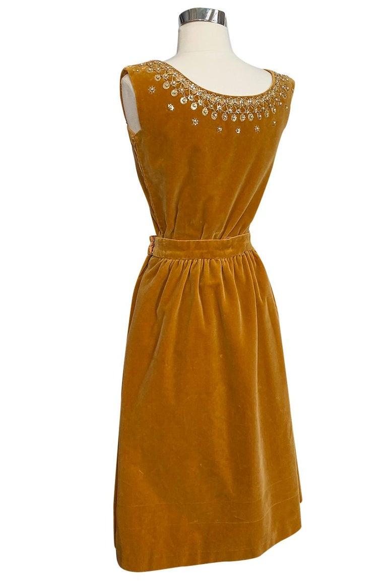 Rare 1950s Jeanne Lanvin - Castillo Demi Couture Beaded Velvet Set For Sale 1