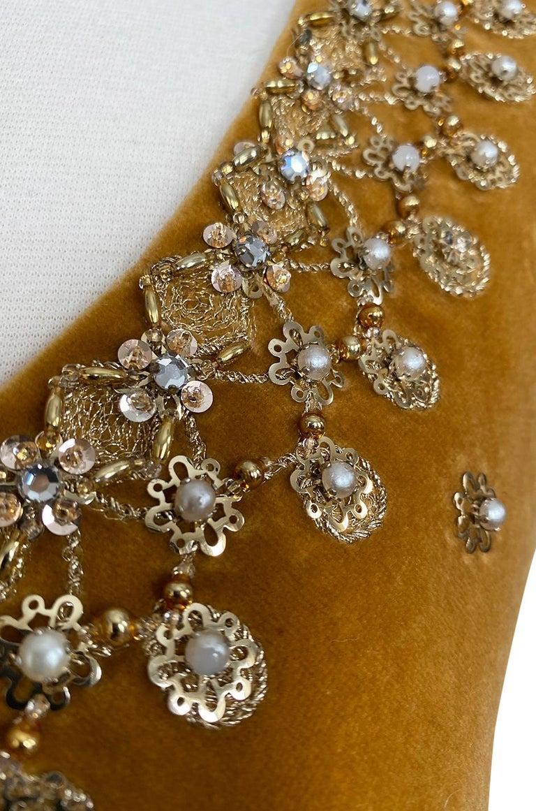 Rare 1950s Jeanne Lanvin - Castillo Demi Couture Beaded Velvet Set For Sale 4