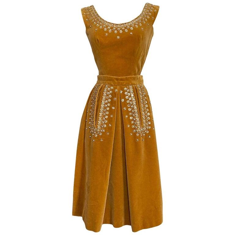 Rare 1950s Jeanne Lanvin - Castillo Demi Couture Beaded Velvet Set For Sale