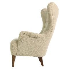 Rare 1950s Lounge Wingback Chair, Danish Modern 1949, Teddy Fur Fabric & Leather