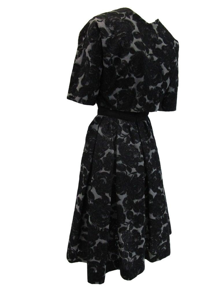 Rare 1950s Madame Gres licensed Black & Grey Embroidered Dress w/ Bolero Jacket For Sale 6