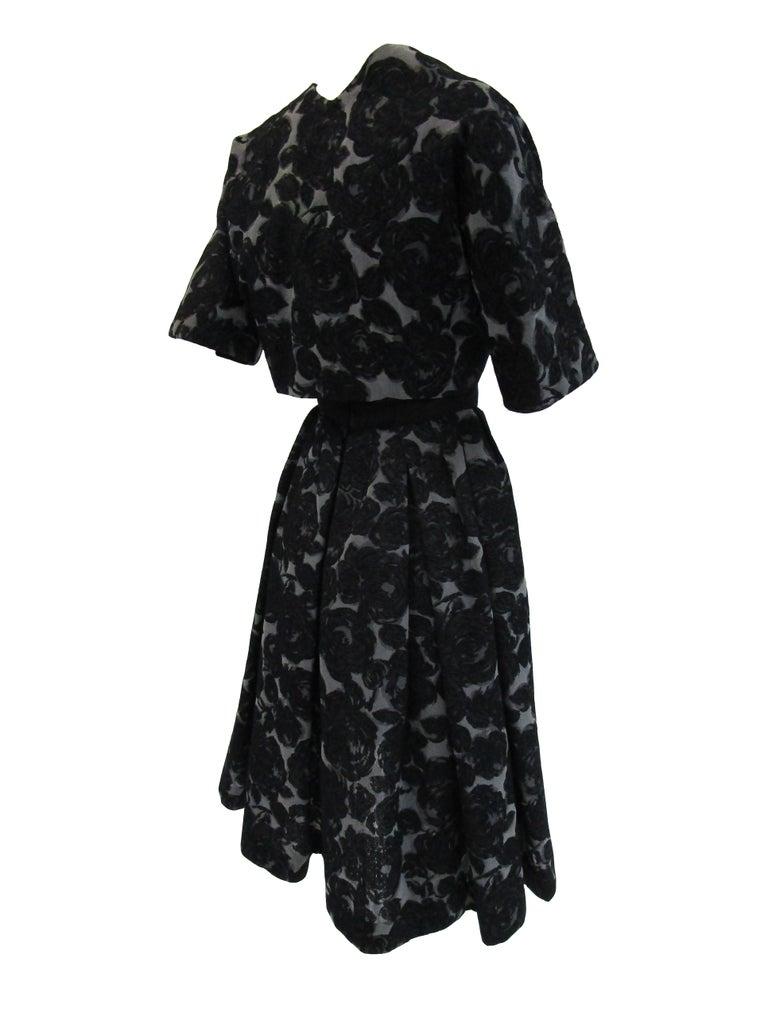 Rare 1950s Madame Gres licensed Black & Grey Embroidered Dress w/ Bolero Jacket For Sale 7