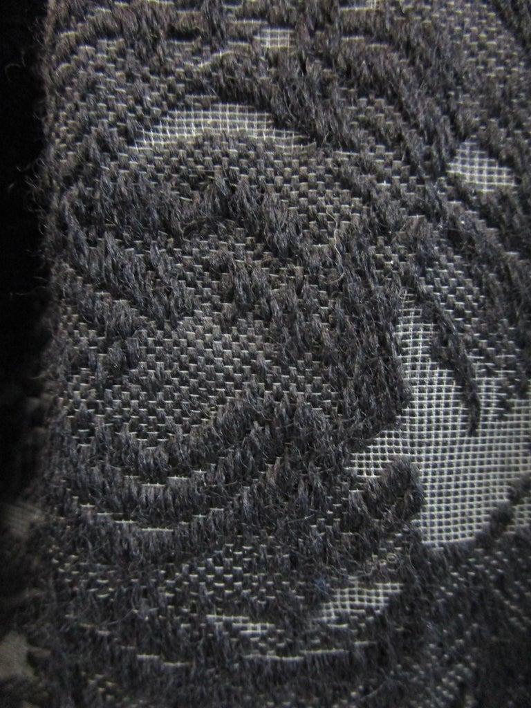 Rare 1950s Madame Gres licensed Black & Grey Embroidered Dress w/ Bolero Jacket For Sale 8