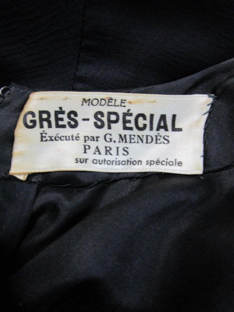Rare 1950s Madame Gres licensed Black & Grey Embroidered Dress w/ Bolero Jacket For Sale 10