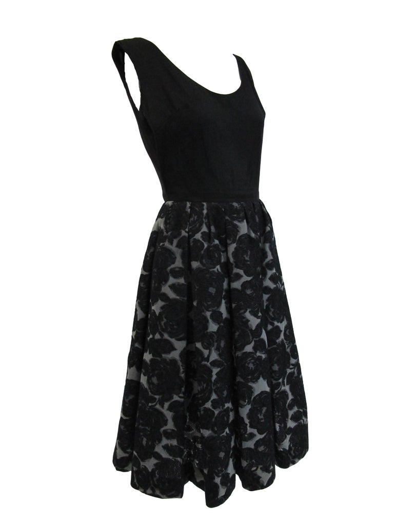 Rare 1950s Madame Gres licensed Black & Grey Embroidered Dress w/ Bolero Jacket In Excellent Condition For Sale In Houston, TX