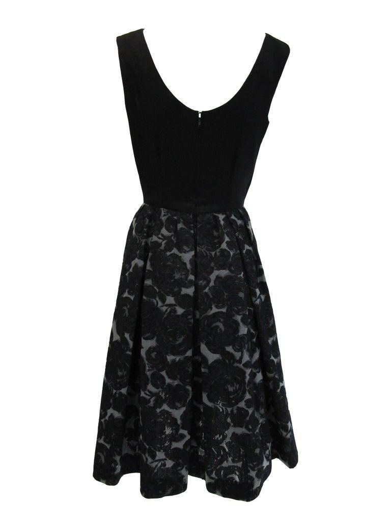 Women's Rare 1950s Madame Gres licensed Black & Grey Embroidered Dress w/ Bolero Jacket For Sale
