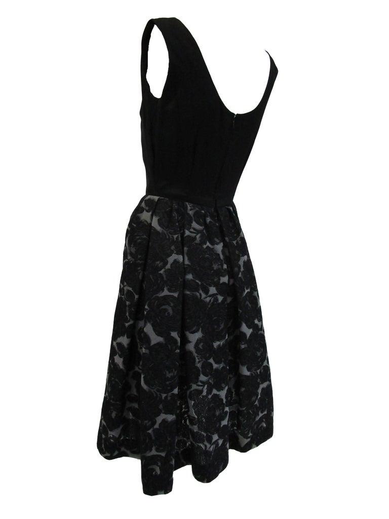 Rare 1950s Madame Gres licensed Black & Grey Embroidered Dress w/ Bolero Jacket For Sale 1