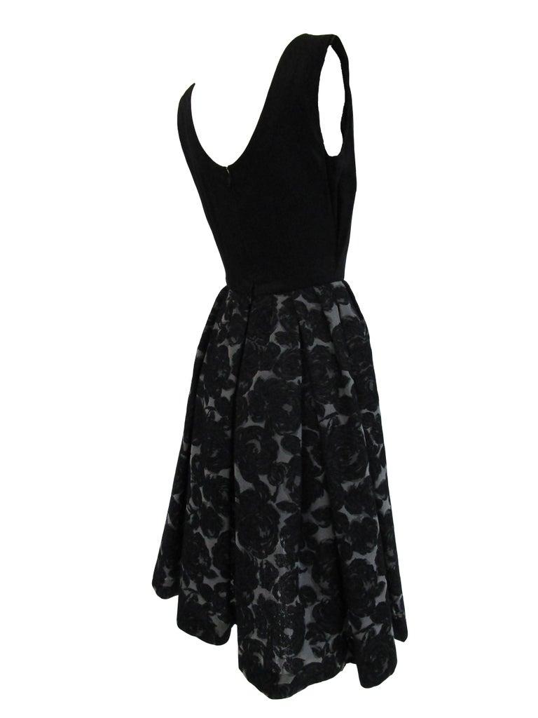 Rare 1950s Madame Gres licensed Black & Grey Embroidered Dress w/ Bolero Jacket For Sale 2
