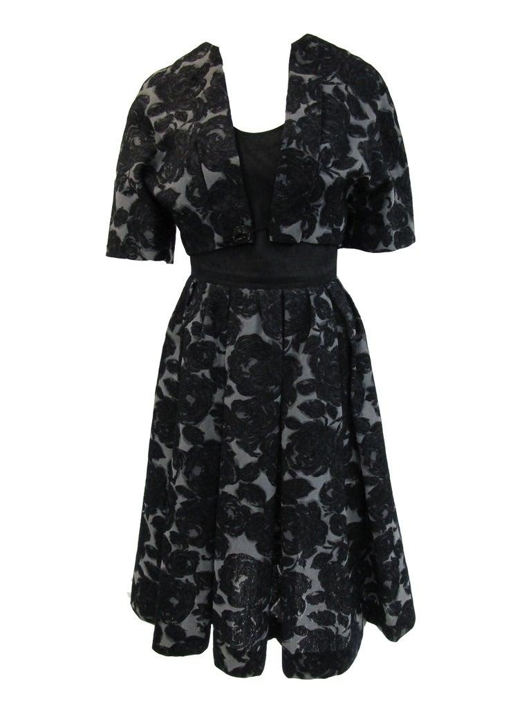 Rare 1950s Madame Gres licensed Black & Grey Embroidered Dress w/ Bolero Jacket For Sale 3