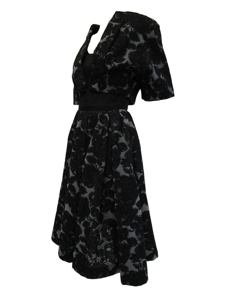 Rare 1950s Madame Gres licensed Black & Grey Embroidered Dress w/ Bolero Jacket For Sale 4