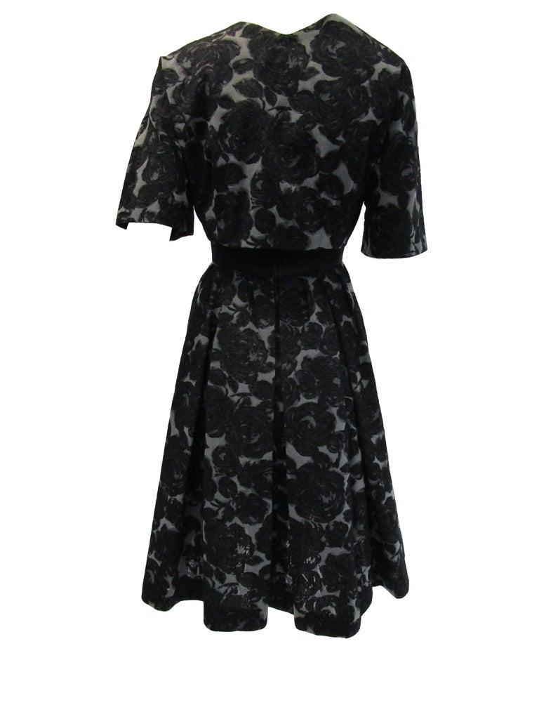 Rare 1950s Madame Gres licensed Black & Grey Embroidered Dress w/ Bolero Jacket For Sale 5