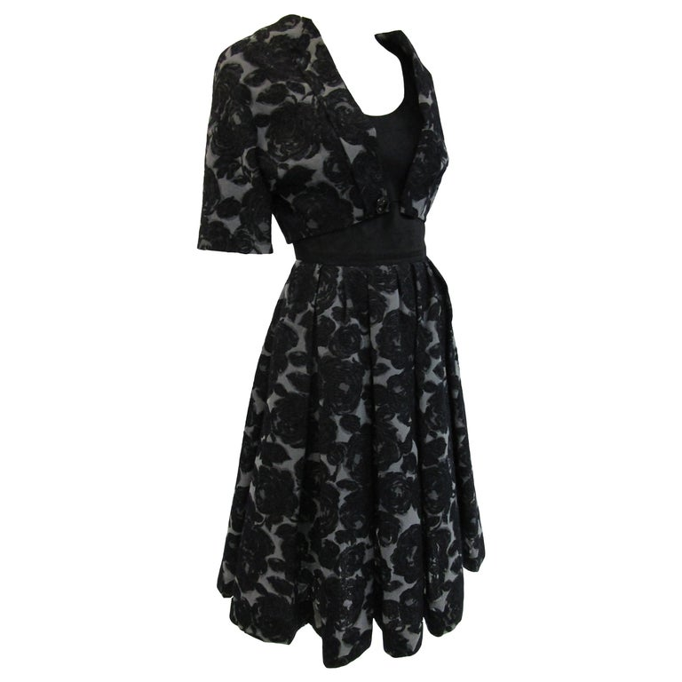 Rare 1950s Madame Gres licensed Black & Grey Embroidered Dress w/ Bolero Jacket For Sale
