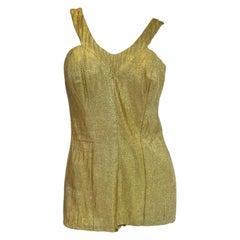 Rare 1950's Nettie Rosenstein Gold Lame Knit Bombshell Bathing/Play Suit