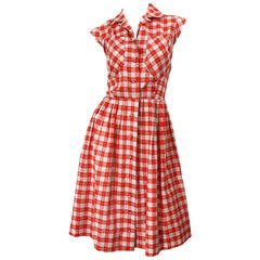 Rare 1950s Red + White Checkered Rhinestone Vintage 50s Cotton Dress