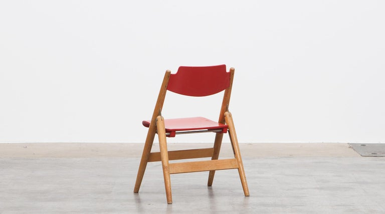 Rare 1950s Red Wooden Kids Folding Chair by Egon Eiermann For Sale 3