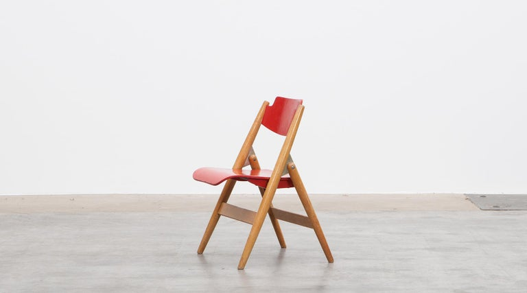 Rare 1950s Red Wooden Kids Folding Chair by Egon Eiermann For Sale 5
