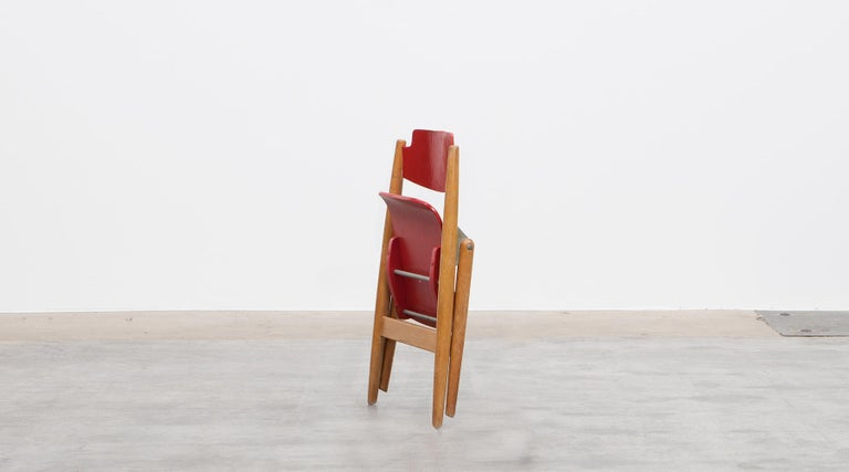 Rare 1950s Red Wooden Kids Folding Chair by Egon Eiermann For Sale 6