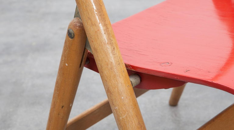 Rare 1950s Red Wooden Kids Folding Chair by Egon Eiermann For Sale 7