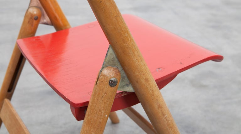 Rare 1950s Red Wooden Kids Folding Chair by Egon Eiermann For Sale 8