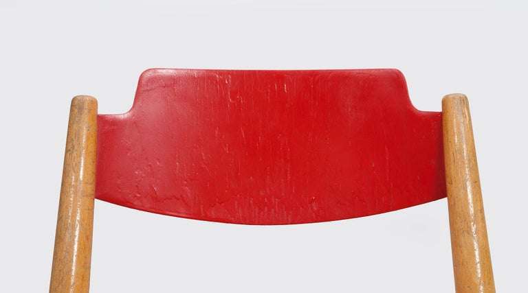 Rare 1950s Red Wooden Kids Folding Chair by Egon Eiermann For Sale 9