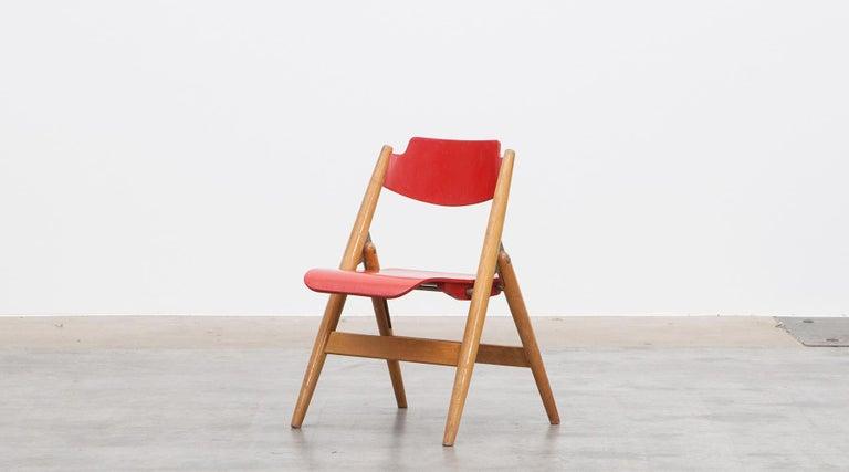 Mid-Century Modern Rare 1950s Red Wooden Kids Folding Chair by Egon Eiermann For Sale