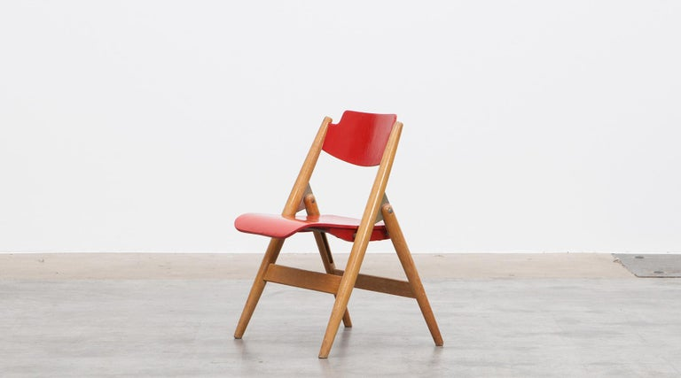 German Rare 1950s Red Wooden Kids Folding Chair by Egon Eiermann For Sale