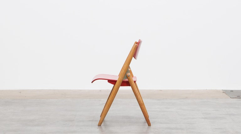 Fantastic Rare 1950S Red Wooden Kids Folding Chair By Egon Eiermann Pabps2019 Chair Design Images Pabps2019Com