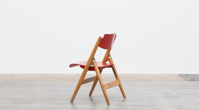 Rare 1950s Red Wooden Kids Folding Chair by Egon Eiermann For Sale 1