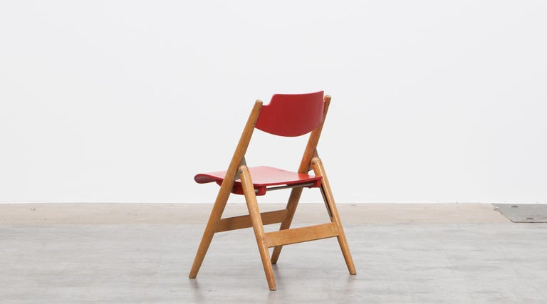 Rare 1950s Red Wooden Kids Folding Chair by Egon Eiermann For Sale 2