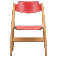 Rare 1950s Red Wooden Kids Folding Chair by Egon Eiermann