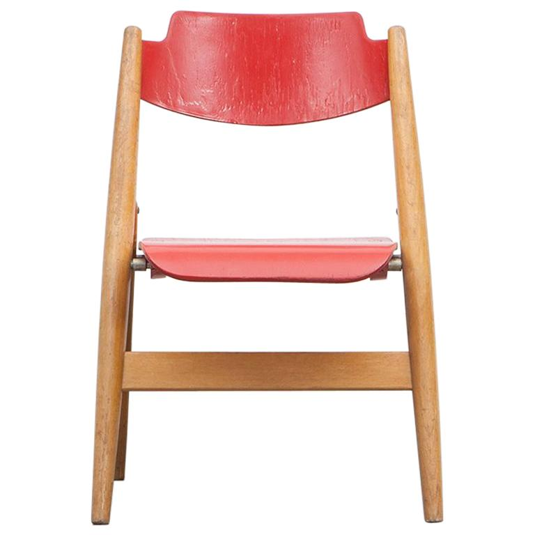 Rare 1950s Red Wooden Kids Folding Chair by Egon Eiermann For Sale