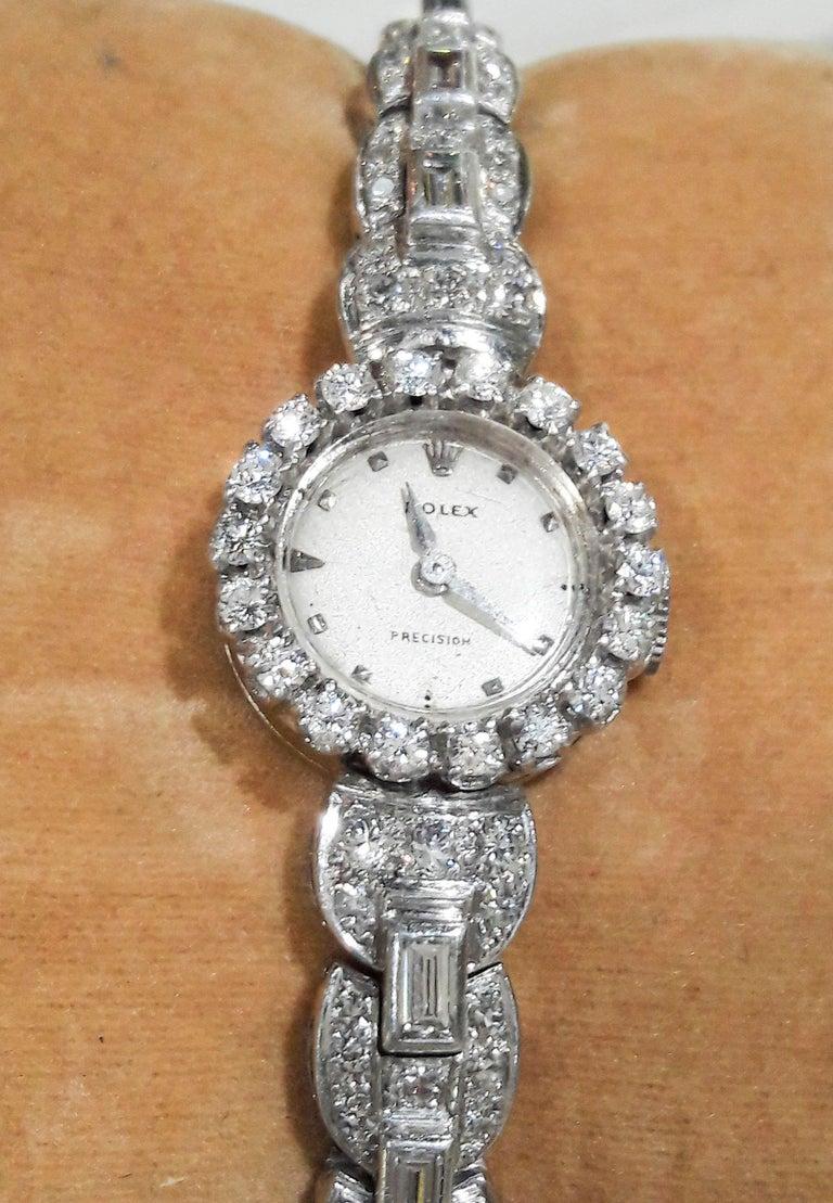 Retro  Rolex 18 Karat Brilliant Round and Baguette Diamond Set Bracelet Watch For Sale