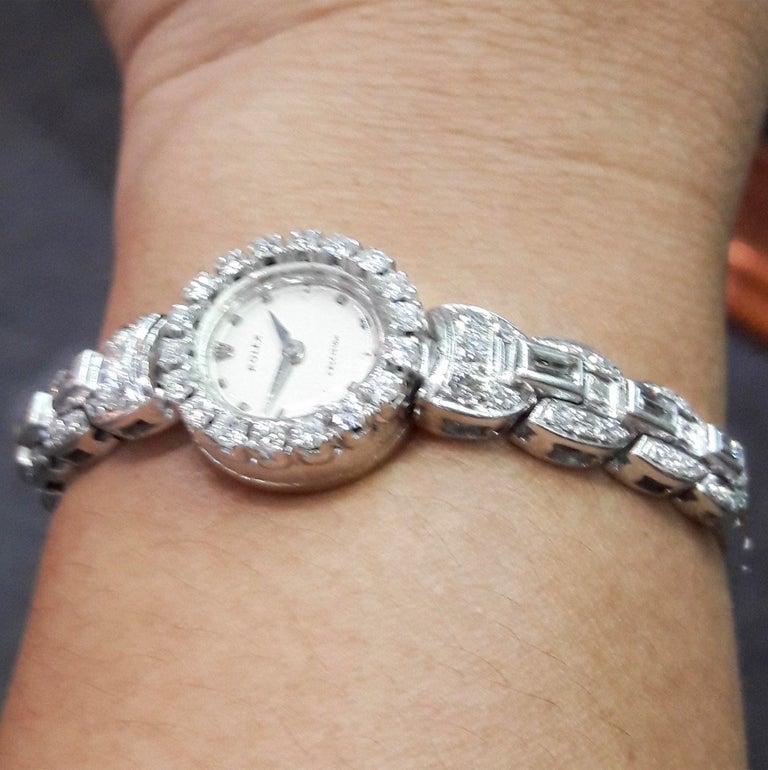 Baguette Cut  Rolex 18 Karat Brilliant Round and Baguette Diamond Set Bracelet Watch For Sale