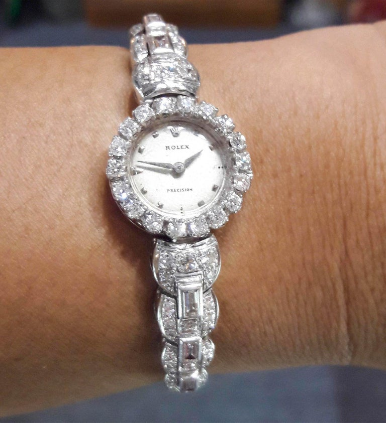 Rolex 18 Karat Brilliant Round and Baguette Diamond Set Bracelet Watch In Good Condition For Sale In New york, NY
