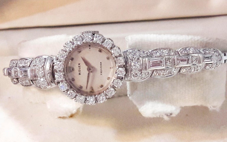 Rolex 18 Karat Brilliant Round and Baguette Diamond Set Bracelet Watch For Sale 1