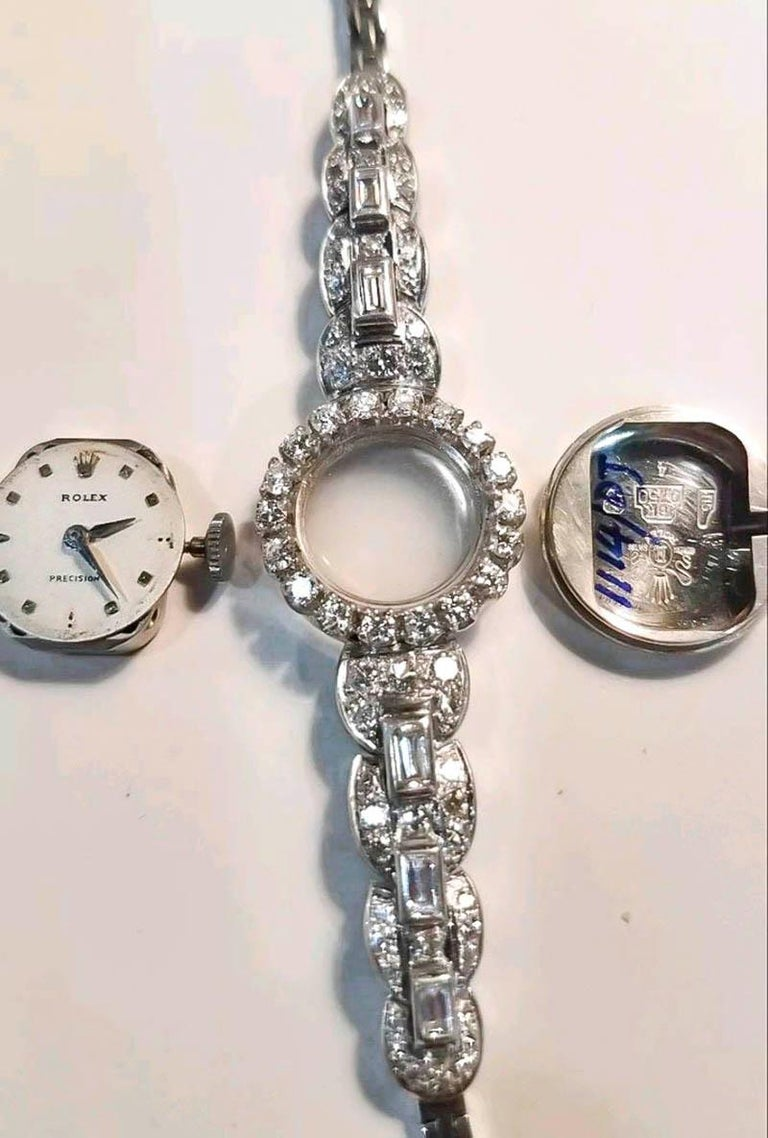 Rolex 18 Karat Brilliant Round and Baguette Diamond Set Bracelet Watch For Sale 2
