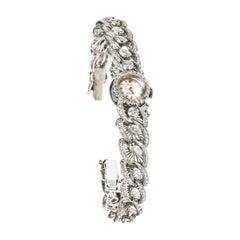 Seltene 1950er Jahre Rolex Diamant in 18 Karat Weißgold Armband Uhr
