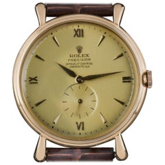 Rare 1950s Rolex Rose Gold Chronometer Champagne Dial Precision Vintage 4134