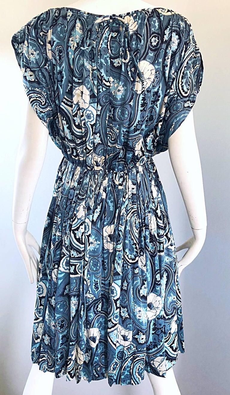 Rare 1950s Townley Blue + White Paisley Flower Print Vintage 50s Dress For Sale 9