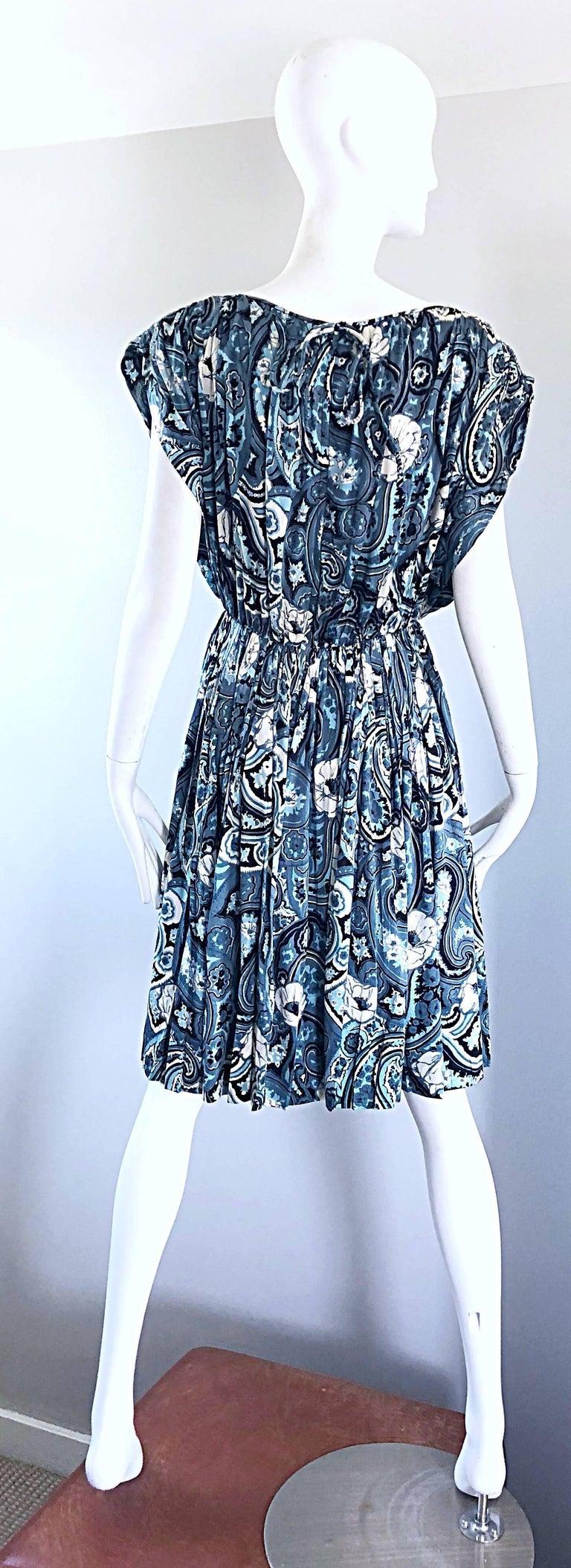 Women's Rare 1950s Townley Blue + White Paisley Flower Print Vintage 50s Dress For Sale