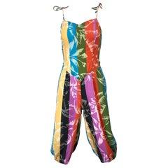 Rare 1950s Tropical Print Lightweight Cotton Colorful Vintage 50s Jumpsuit