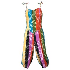 Rare 1950s Tropical Print Lightweight Cotton Colorful Vintage 50s Jumpsuit