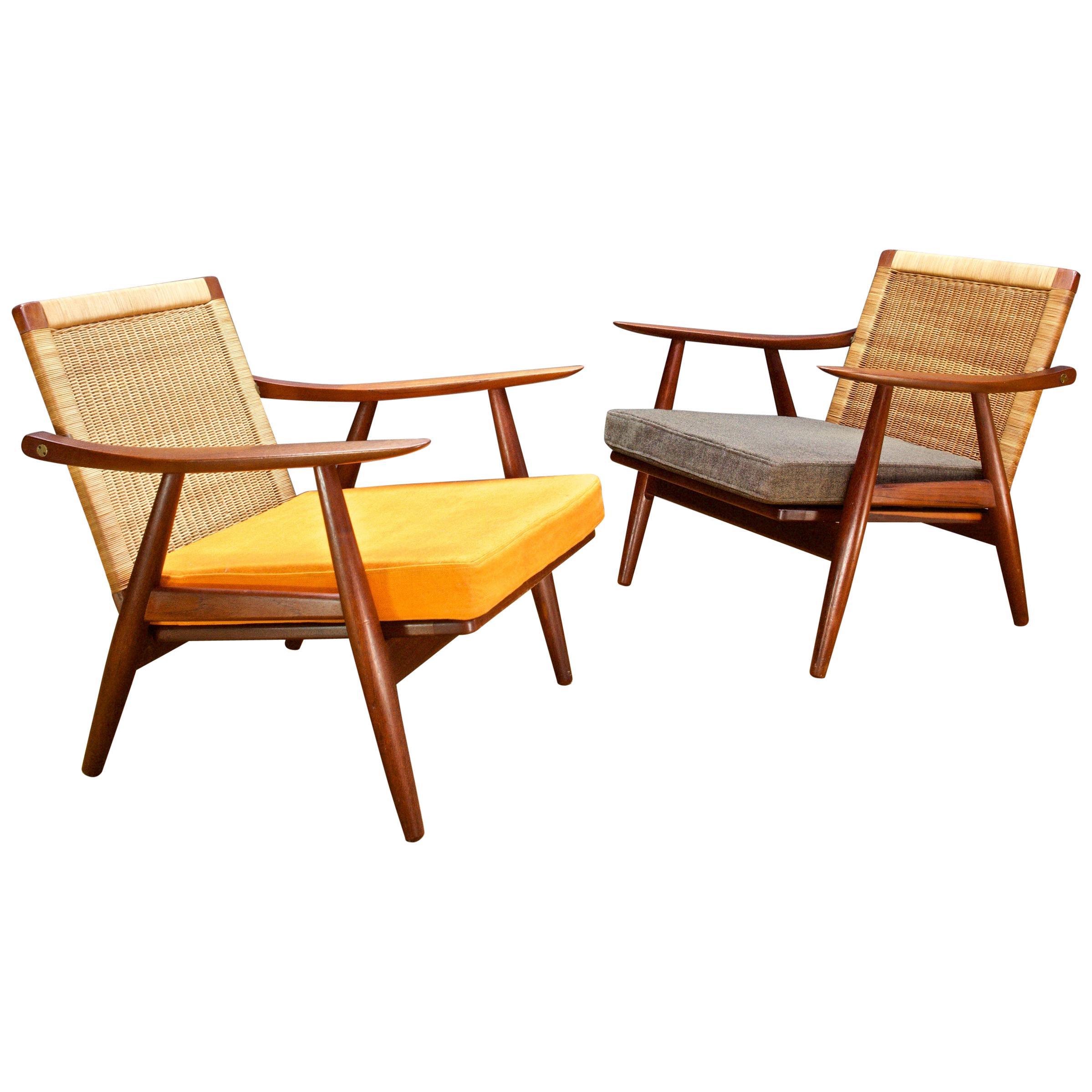 Rare 1950s Wicker Back GETAMA Lounge Chairs Midcentury Danish Teak Hans Wegner