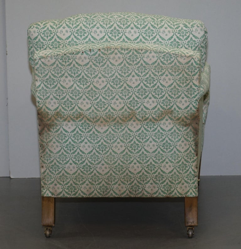 Rare 1954-1959 Howard & Son's Lenygon & Morant Armchair Original Ticking Fabric For Sale 3