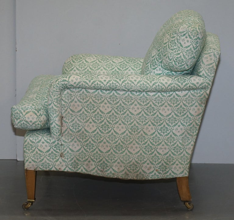 Rare 1954-1959 Howard & Son's Lenygon & Morant Armchair Original Ticking Fabric For Sale 4